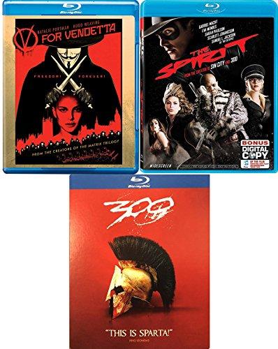 - Freedom Forever Comic Movies The Spirit Blu Ray Frank Miller 300 + V For Vendetta 3 Pack