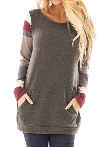 Women Longsleeve Color Blocked Cotton Casual T Shirts Knitted Striped Loose Sweatshirt Tunic Tops Brown - Shirt Booty