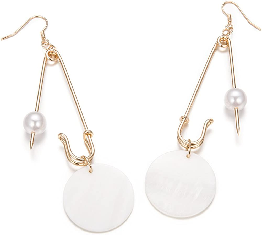 SKEINS Safety Brooch Pin Earrings Clip Geometry Big Long Chain Earrings