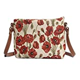 Signare Womens Tapestry Fashion Shoulder Handbag Across Body Bag in Floral Poppy Design