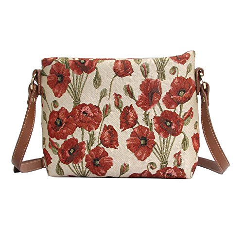 Signare Women's Fashion Canvas Tapestry Mini Satchel Cross-body Purse Bag with Adjustable Strap also as Small Shoulder Bag with Poppy Flower (XB02-POP) (Bag Satchel Tapestry)