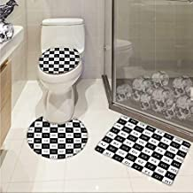 Carl Morris Checkers Game Toilet Floor mat Set Monochrome Chess Board Design with Tile Coordinates Mosaic Square Pattern Elongated Toilet Lid Cover Set Black White