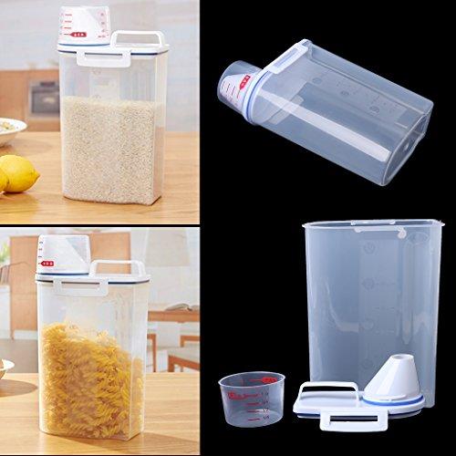 - Milue Grain Storage Container 2kg Rice Bean Sealed Box With Pour Spout Measuring Cup