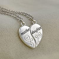 ERAWAN Women 2PCS Silver Charm Mother Daughter Flower Chain Pendant Necklace GIFT JP EW sakcharn