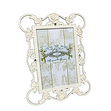 Decorative Antiqued Rose Garden Glossy Ivory Metal Shabby Chic 4 x 6 Table To...