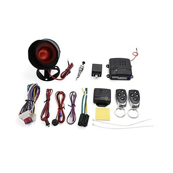 Uxcell 1 Way Car Vehicle Burglar Alarm System Keyless Entry Security System W/2 Remote Control