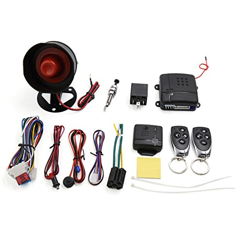uxcell 1-Way Car Vehicle Burglar Alarm System Keyless Entry Security System w/2 Remote Control