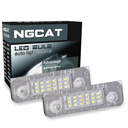 NATGIC 1 Pair 18 SMD LEDs Bulb License Number Plate Lamps Light CanBus Error Free