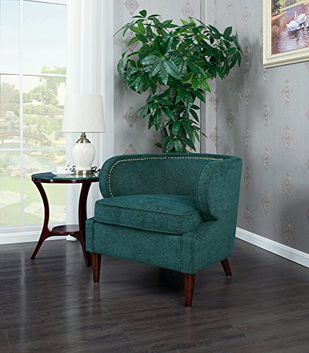 Iconic Home Vered Accent Side Club Chair Chenille Upholstery Polished Brass Finish Nailheads, Teal, Retro Modern