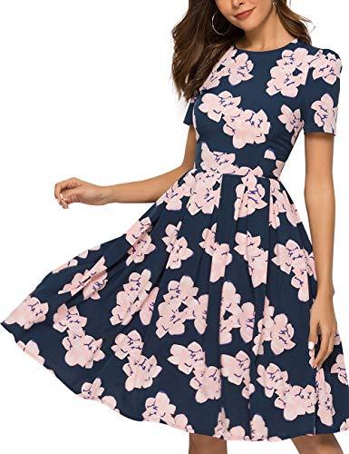 (Simple Flavor Women's Floral Summer Midi Dress Vintage Evening Dress Short Sleeve (0021Pink, L))