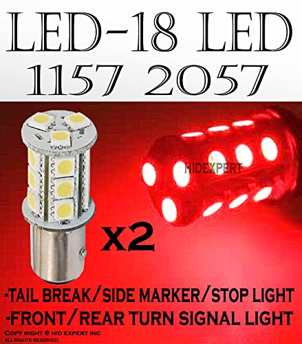ICBEAMER 2 pcs BAY15d 1034 1157 1158 1493 2057 2357 18 LED 5050 SMDs Chips Replace Halogen Light Bulbs [Color: Red] ()