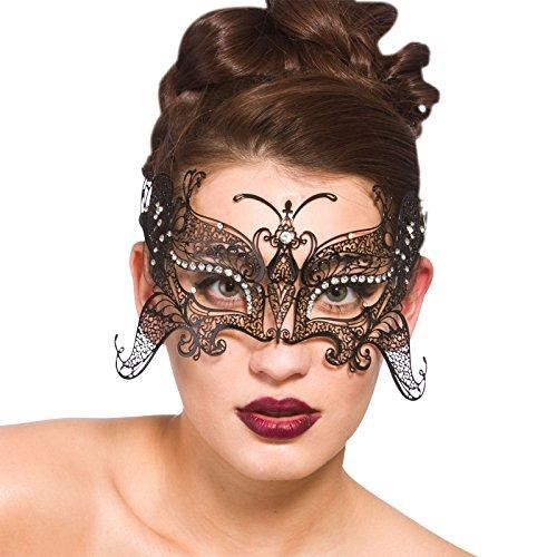 Metal L/Cut Eye Mask - Matt Black / Diamantes
