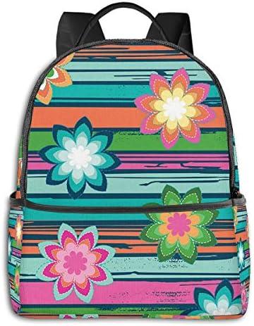 色の花 ストライプ リュックサック バックパック スクールバッグ 幼稚園 通園 入園 入学 チアフルデイパックかわいい おしゃれ 学生 男の子 女の子 遠足 フラッシュデイ