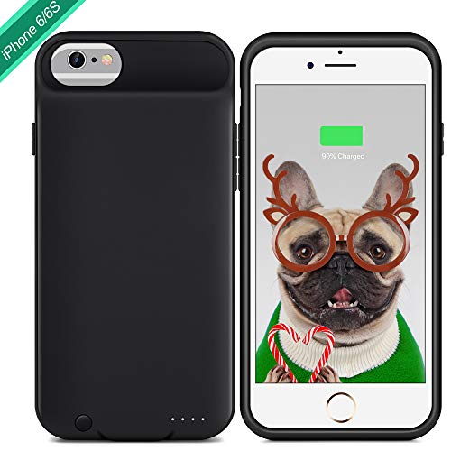 Battery Case for iPhone 6 / 6S, XchuangX 3000mAh Rechargeable Protective Charging Case Slim for Apple iPhone 6 / 6S (4.7 inch), Support 3.5mm Headphone, Answer Call, Sync-Through-Black