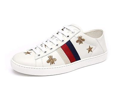 0c9945af5b7cf Amazon.com | YoXian Fashion Women's White Flat Stripe Sneakers Bee ...