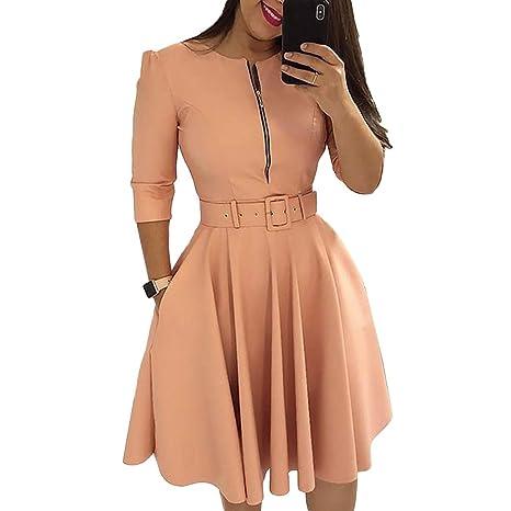 dfc9ee94778 Amazon.com  CHoppyWAVE Women Solid Color Half Sleeve Zipper Dresses ...