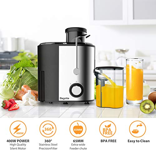 Bagotte Compact Juice Extractor Fruit and Vegetable Juice Machine Wide Mouth Centrifugal Juicer, Easy Clean Juicer… Salted Salad