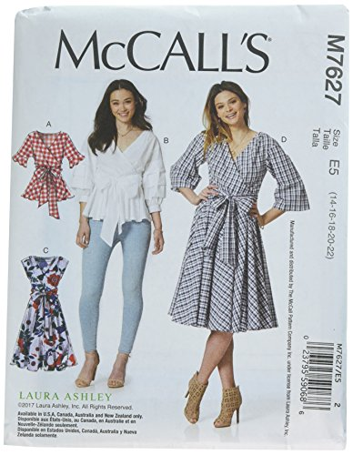 (McCall's Patterns M7627E50 Wrap Tops and Dresses with Waist Tie)