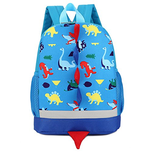 (GOODCULLER Baby Boys Girls Dinosaur Pattern Animals Backpack Toddler School Bag (Blue))