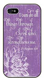 iPhone 4 / 4s Bible Verse - Vintage floral. I can do all things through Christ. Philippians 4:13 - black plastic case / Verses, Inspirational and Motivational