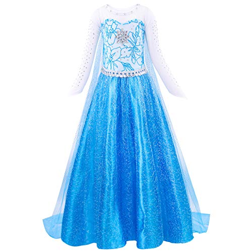 HenzWorld Little Girls Princess Fancy Dress Elsa Costume Birthday Party Halloween Snowflake Rhinestones Mesh Tulle
