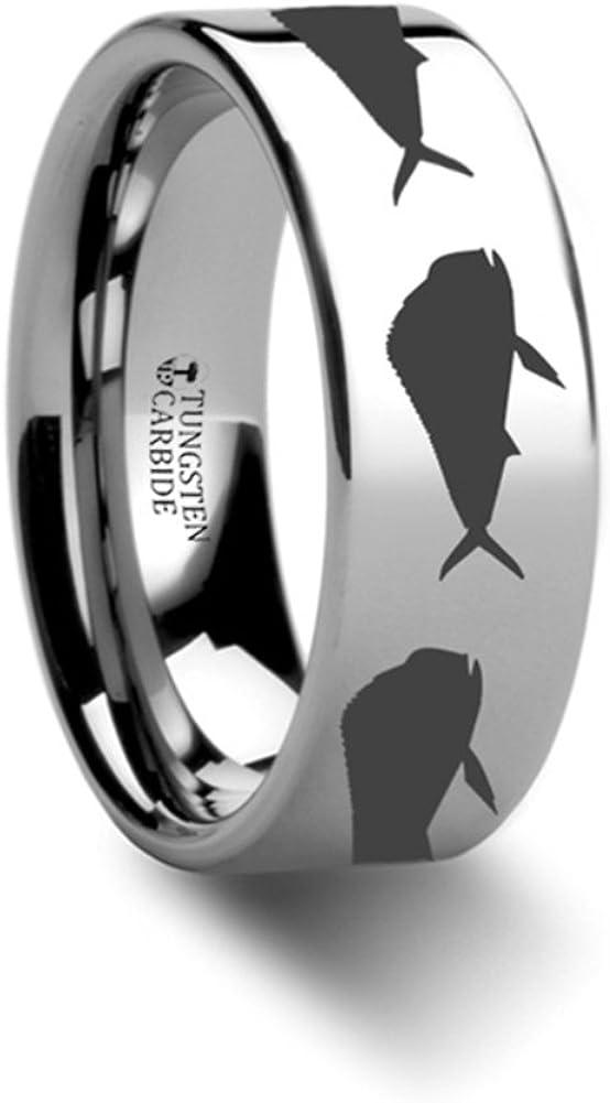 Tungsten Carbide Ring Mahi Fish Jumping Sea Print Pattern Engraved Flat Design 6mm Band
