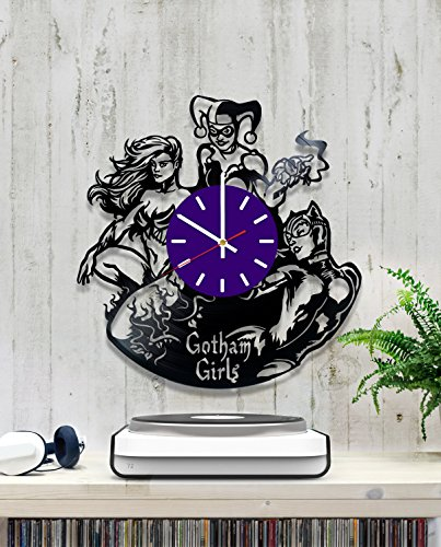 Gotham Girls Vinyl Record Wall Clock - Contemporary and Creative Living Room Wall Decor - Modern DC Comics Fan Art - Best Gift Idea For Youth and Teens]()