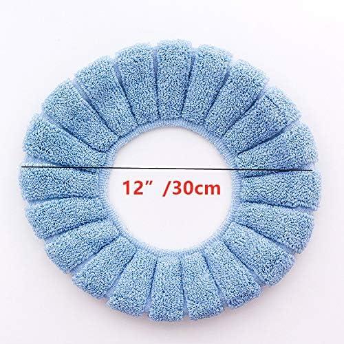 XIGUI Lot de 4 si/èges de Toilette avec Coussins en Fibre Douce et Chaude Housse Lavable Bleu Rose