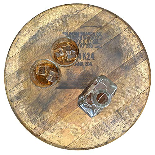 Barrel and Burlap Bourbon Barrel Lazy Susan Turntable Made in the USA from an Authentic Reclaimed Barrel - Distillery Bourbon Wild Turkey