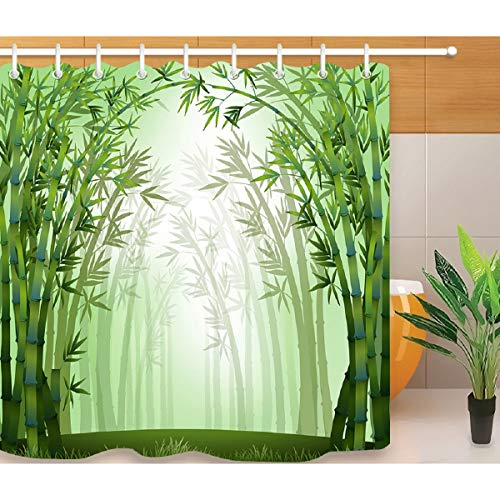 HLILOP Shower Curtain Bamboo Forest Pattern Polyester Fabric 71W X 71L inches Green White with Hooks for Bathroom