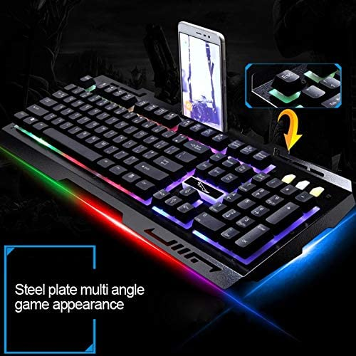 A8GXG7MBN9G7K 104 Keys USB Wired Mechanical Feel RGB Backlight Metal Panel Suspension Gaming Keyboard with Phone Holder Black Color : Gold