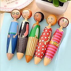 AA 1X Cartoon Doll Ballpoint Pens Kawaii Stationery Push Ball Point Pen Nib Medium