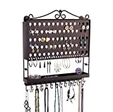 Jewelry Organizer Hanging Earring Holder Wall Mount Necklace Rack Bracelet Closet Storage, Rubbed Bronze