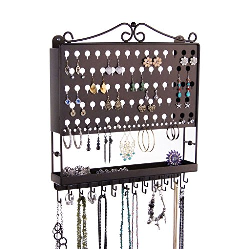Jewelry Organizer Hanging Earring Holder Wall Mount Necklace Rack Bracelet Closet Storage, Rubbed Bronze by Angelynn's Jewelry Organizers