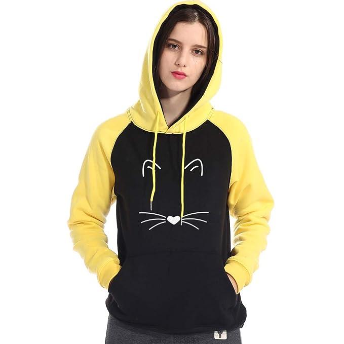 ❤ Abrigo para mujerHoodies, Gato Invierno de Las Mujeres de impresión de Manga Larga con Capucha Camiseta de la Blusa Ocasional Absolute: Amazon.es: Ropa ...
