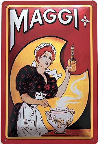 Deko7 Maggi Plaque en t/ôle Vintage Rouge 30 x 20 cm