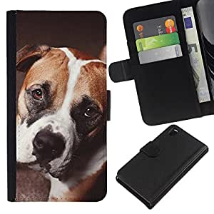 All Phone Most Case / Oferta Especial Cáscara Funda de cuero Monedero Cubierta de proteccion Caso / Wallet Case for Sony Xperia Z3 D6603 // Boxer Terrier Boston French Bulldog