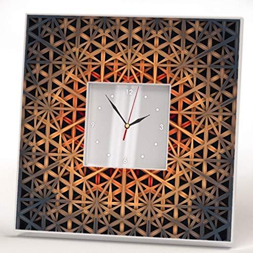 Modern Background Pattern Wall Clock Framed Mirror Printed Decor Home Living Room Design Art Gift