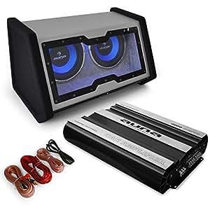 Auna Basstronaut Equipo de sonido Hifi para coche (Altavoz subwoofer, amplificador 4 canales, cableado 60A AGU, 4000W)
