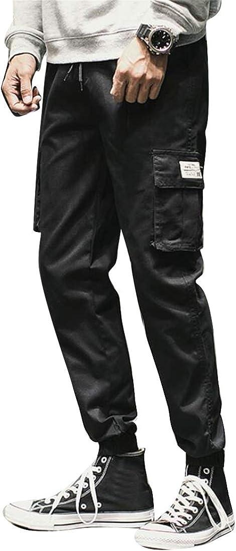 Suncolor8 Mens Elastic Waist Thicken Winter Sport Casual Drawstring Denim Work Western Shirt