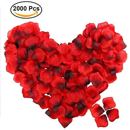 POAO Rose Petals, 2000pcs Dark-Red Artificial Petals for Wedding Party Favors, Romantic Night and Vase Home Decoration