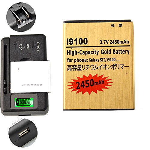 Gold Extended Samsung Galaxy S2 SGH-i777 High Capacity Battery EB-L1A2GBA EB-F1A2GBU + Universal Battery Charger With LED Indicator For Samsung Galaxy S II SGH-i777 / Samsung Galaxy S II I9100 / Samsung Galaxy S2 SGH-i777 / Samsung Galaxy S2 I9100 2450 mAh