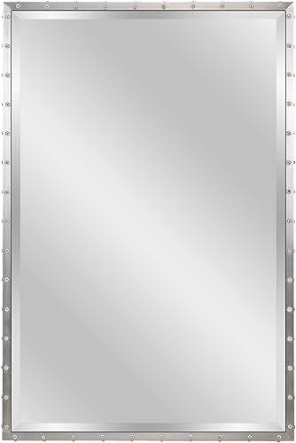MOTINI Large Beveled Wall Mirror 24 x 36 Silver Metal Framed Rectangular Mirror for Bathroom, Vanity, Hanging Horizontal or Vertical