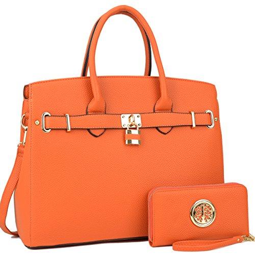 DASEIN Women's Purses and Handbags Shoulder Bags Ladies Designer Tote Bags Padlock Satchels with Wallet
