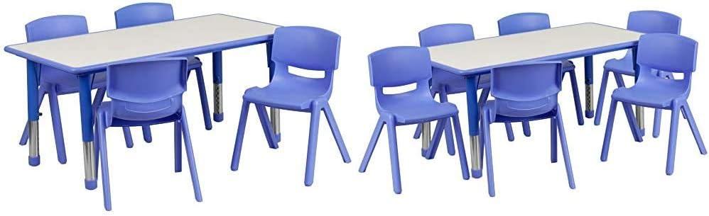 Flash Furniture 23.625''W x 47.25''L Rectangular Blue Plastic Table Set with 4 Chairs & 23.625''W x 47.25''L Rectangular Blue Plastic Height Adjustable Activity Table Set with 6 Chairs
