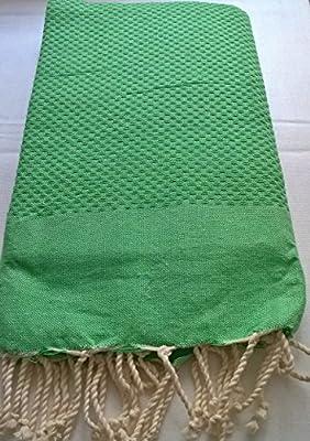 ETIKCHIC Fouta Toalla de Playa Manta Toalla de baño Pareo Toalla Hammam algodón de Panal de Abeja Uni Verde