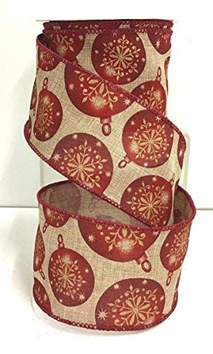 Christmas Ball Ornament Wired Linen Ribbon~Natural,Red~2 1/2'' Wx10 yd RE-212