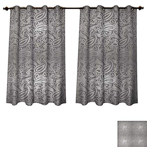 Anzhouqux Silver Blackout Thermal Curtain Panel Traditional Paisley Pattern Old Fashioned Royal Floral Ornamental Tile Design Patterned Drape for Glass Door Dimgray Silver W55 x L39 ()