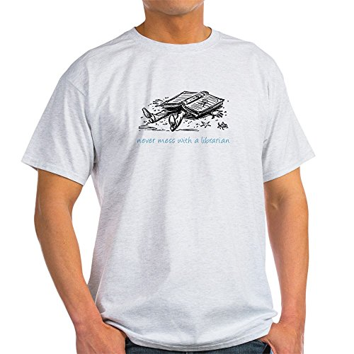 CafePress Never Mess With a Librarian Ash Grey T-Shirt - 100% Cotton T-Shirt Librarian Ash Grey T-shirt