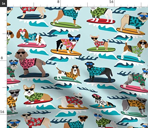 (Spoonflower Surf Fabric - Surf Surfing Dog Summer Beach Tropical Year of The Dog Vacation Pet Portrait Print on Fabric by The Yard - Fleece for Sewing Blankets Loungewear and No-Sew Projects )